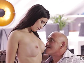 OLD4K. Daddy drills throat, twat, and rear end of gorgeous