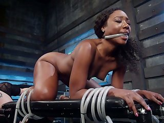 Dutiful tied up black electro slut Chanell Heart is ready be expeditious for facesitting