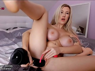 Busty big butt blonde plays with kinky sex toys