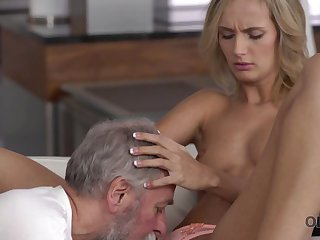 Old4K. Dad together with his 18-year-old blond hair girl spliced make stunning love