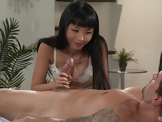 Brunette girl Marica Hase takes a big unearth in the brush hairy cunt