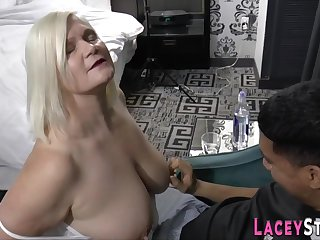 Grandmother with huge breast sucking male embrocate