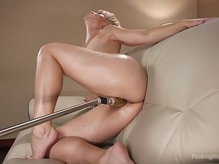 Smoking hot short haired milf Helena Locke is testing crazy sex toy
