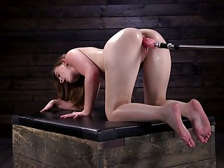 Lustful chick Danni Rivers is testing sybian and crazy fucking paraphernalia