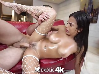 Mexican hotty, Autumn has a big sneer on her face while getting well-prepped to jizz