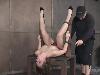 Teen nearby a miniskirt Nora Riley fed with big bushwa while tied up