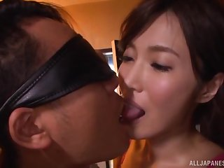 Kimijima Mio pussy creampied dimension riding a blindfolded guy