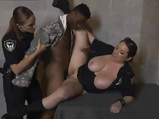 Sexy blonde milf gets The femmes in blue confronted him with a few
