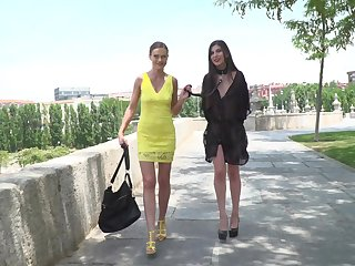 Public humiliation for tied up Anya Krey by Tina Kay and strangers