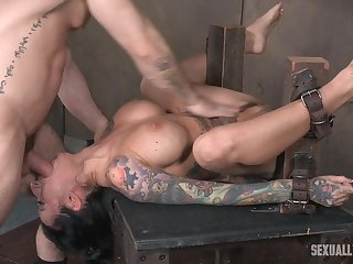Lily Allude gets her shaved pussy all wet while being abused with toys