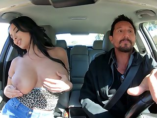 Bosomy interesting raven haired sexpot Anissa Kate rides dick take a shine to expert