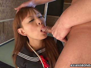 Breast bondaged Japanese college gal Miu Tamura gets fucked doggy everlasting