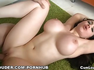 skinny brunette with fake tits gets her pussy pounded by her friend