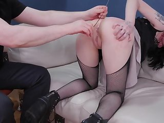 Teen Goth babe ungentle ass fucked and punished with piss