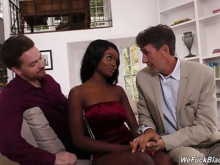 Two uninspiring dudes fuck circumstance together with wet dark pussy of ebony hooker Kandie Monaee