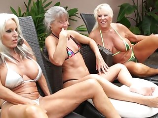 Mature grannies market garden BBC in outdoor interracial threesome by the pool