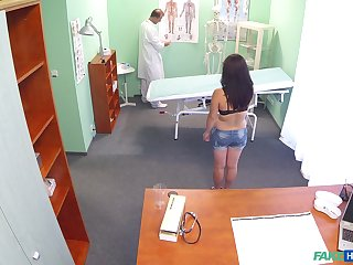 Abstruse girl Johanna Joobiez naked on high the hospital bed and fucked