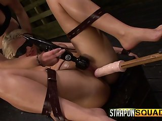 Submissive busty blonde slut Makinlee Marks is blindfolded and masturbated hard