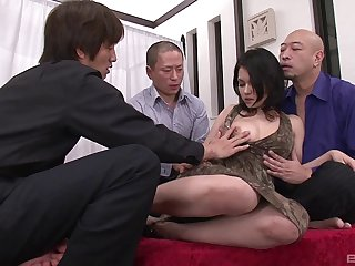 Stunning Asian woman with a flimsy pussy enjoying a fantastic gangbang