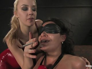 Brutal lesbian femdon with Charley Chase and Annette Schwarz - face dildo and smoking