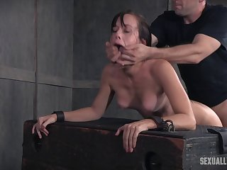 Tied up amateur Alana Cruise fucked by two guys with regard to BDSM scene