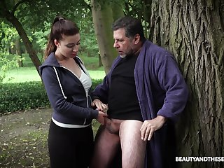 Hardcore fucking in the local woods with an older guy added to Teressa