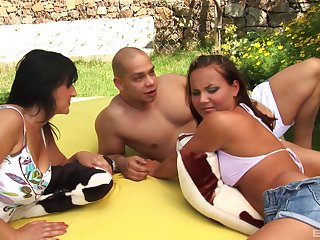 Lucky guy fucks his girlfriend Nataly and her best collaborate Petrina