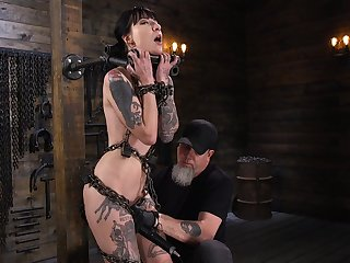 Locked in stocks real BDSM whore Charlotte Sartre deserves hard masturbation