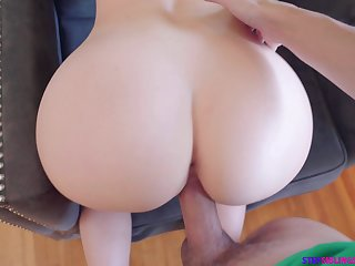 Blue haired stepsister gives a great blowjob and takes hard cock surrounding wet pussy