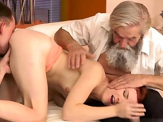 Old german Vanessa, her boypartner coupled with his father wished