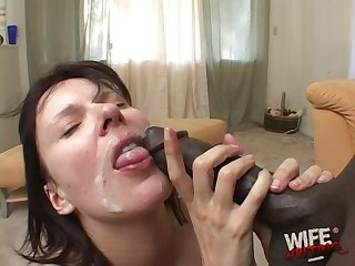 Dirty slut Byron Long on her knees having sex with a black dick