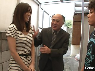Pretty Japanese girl Saki Aiba allows her step brother to shave hairy pussy