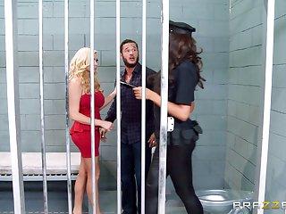 Threesome in the prison alongside whores Ava Koxxx plus Summer Brielle