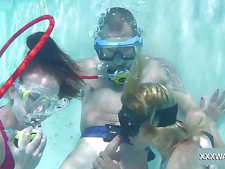 Babes take turns sucking dick underwater and they are ergo intrepid