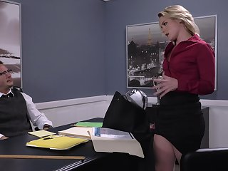 Lisey Sweet eaten at large on the desk during impressive office flourish