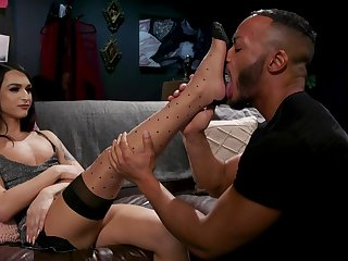 Zealous slender long-legged transsexual whore Khloe Kay sucks cock 69