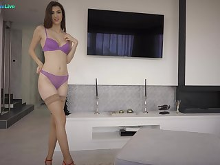 Desirable girlfriend Lina Luxa takes his insincere dick up her butt