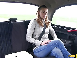 Cheating girlfriend Victoria Daniels wanted adjacent to be fucked by the driver