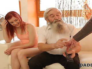 DADDY4K. Lovely redhead has crazy intercourse with old man