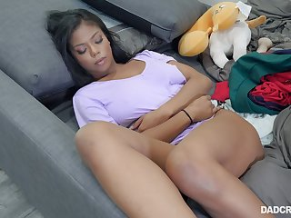At rest ebony stepdaughter Nia Nacci teases daddy with pussy issuing hands wide open