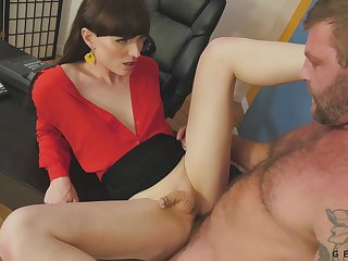 Highly effusive and rather sexy leggy shemale Natalie Mars is anal pounded