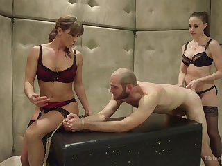 Helpless dude gets peentrated by Chanel Preston and Ariel X