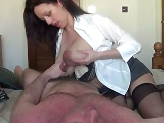 My hesitantly hot wife with obese lactating boobs is riding me with love