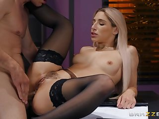 A bigwig gets a blowjob from a hot office lady and fucks her first of all hammer away desk