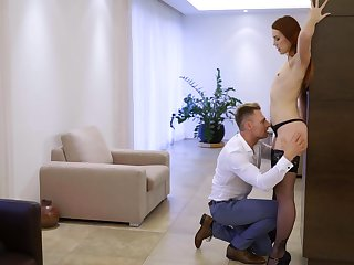Redhead hottie Charlie Red moans during sexual congress with her boyfriend