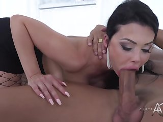 Seductive, French brunette around big boobs is sucking her employee's dick and getting fucked hard