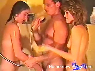 Retro video of a undesigned guy fucking his wife and her best join up