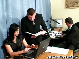 Nomination triplet sex with brunette secretary Renata Black with glasse