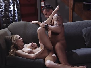 Premium woman spreads for the energized dick of this older man