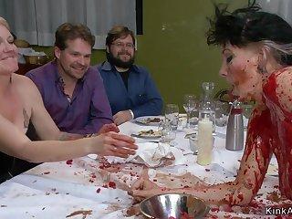 Slave gets pounded give public soup course